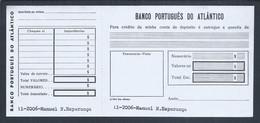Talão De Depósito Personalizado Do Banco Português Do Atlântico, Lisboa. 1960/70. Personalized Deposit Slip BPA. Rare - Cheques & Traverler's Cheques