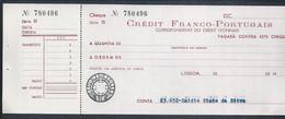 Credit Franco-Portugais Check, Lisbon, 1950. Credit Franco-Portugais Cheque, Lissabon. Chèque De Crédit Franco-portugais - Cheques & Traverler's Cheques