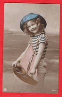 EDWARDIAN YOUNG GIRL TINTED RP   WITH Model POND YACHT   Pu  1912 - Children And Family Groups