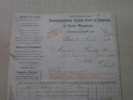 Facture Ancienne    1910 FAIENCERIES SARREGUEMINES DIGOIN .....  PARIS - 1900 – 1949