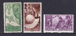 SAHARA ESPAGNOL - 1950/1952 - POSTE AERIENNE YVERT 16/18 * MLH - COTE = 55 EUR. - CHARNIERE TRES LEGERE - Sahara Spagnolo