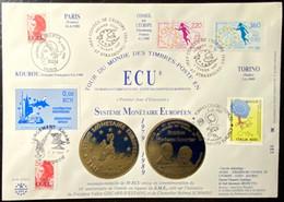 Conseil De L'Europe Système Monétaire Européen Tour Du Monde Des Timbres En écu - Cachet Avec Dates Diverses - Brieven & Documenten