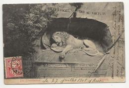 """Schweiz Suisse 1905: Zu 61 Mi 54 Yv 67 Bild-PK CPI """"Das Löwendenkmal"""" Mit Passendem Stempel LUZERN 28.VII.05 - Raubkatzen"""