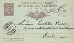 Italy UPU Postal Stationery Ganzsache Entier Umberto I. GENOVA 1882 BÂLE Schweiz AMBULANT No. 39 Cds. (2 Scans) - Stamped Stationery