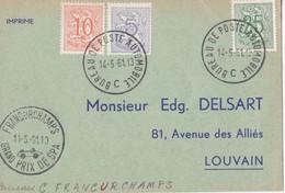 Francorchamps - Grand Prix De Spa / Bureau De Poste Automobile 1961 - Lettres & Documents
