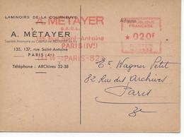Carte Postale Commerciale Laminoirs De La Courneuve Oblitération Avec Flamme EMA 29/1/60(MG 0532) - EMA (Printer Machine)
