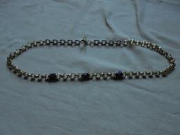 Vintage - Bijou Fantaisie - Collier Mi-long Chaine Dorée 3 Perles Années 70/80 - Necklaces/Chains