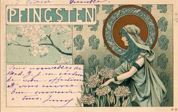 Illustrateur Kuhn Regnier, Art Nouveau Femme Pfinsten - Andere Zeichner