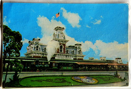 01110200 The Walt Disney World Rail Road Green Train Lilly Belle Blue Back With Florida Flag Posted 1972 - Disneyworld