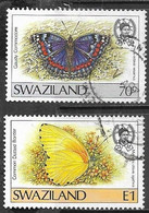 Swaziland   1987  Sc#515-6  Better Butterflies Used  2016 Scott Value $4.25 - Swaziland (1968-...)