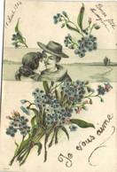 Carte Gauffrée Illustrateur Couple Paysage Bouquet De Myosotis Je Vous Aime Pailletée RV - Parejas