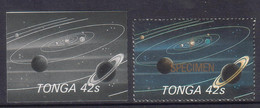 Tonga 1986 Halley's Comet - 42s Proof In Black & White + Specimen - Shows Planets Space Saturn Stars - Read Description - Tonga (1970-...)