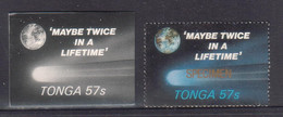 Tonga 1986 Halley's Comet - 57s Proof In Black & White + Specimen - Shows Once In A Lifetime - Space - Read Description - Tonga (1970-...)