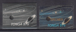 Tonga 1986 Halley's Comet - 57s Proof In Black & White + Specimen - Shows Planets Space Saturn Stars - Read Description - Tonga (1970-...)