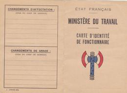 TRES RARE CARTE (vierge) ETAT FRANCAIS ,ministére Du Travail,CARTE D'IDENTITE DE FONCTIONNAIRE ,sous PETAIN - Historische Dokumente