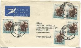 242 - 91 - Enveloppe Envoyée De Johannesburg En Suisse 1955 - Storia Postale