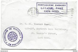242 - 51 - Enveloppe Ambassade Du Portugal Cape Town - Official Free 1955 - Storia Postale
