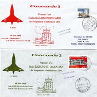 Caracas Lisboa Paris 1975 - Concorde 3 - Vol Endurance A/R - Lisbonne - 1er Vol Erstflug Flight Volo - Venezuela - Briefe U. Dokumente