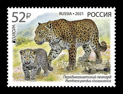 Russia 2021 Mih. 2944 Europa. Fauna. National Endangered Wildlife. Persian Leopards MNH ** - Nuovi