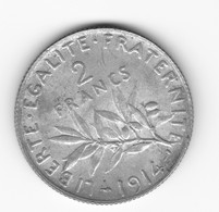Très Belle 2 Francs Semeuse 1914  SUP - I. 2 Francs