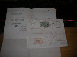 Env Chargé Cavan Cote Du Nord Motreff Carhaix Finistere Le Bonniec Marchand Fer Bois Merson 45c Yt 143 Seul Sur Lettre - 1877-1920: Semi-Moderne