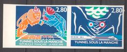 Inauguration Du Tunnel Sous La Manche Paire YT 2875A De 1994 Sans Trace De Charnière - Non Dentellati
