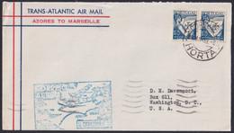 F-EX22020 PORTUGAL TRANS-ATLANTIC 1939 FIRST FLIGHT AZORES - MARSEILLE, FRANCE. - Briefe U. Dokumente