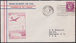 F-EX22022 FRANCE TRANS-ATLANTIC 1939 FIRST FLIGHT MARSEILLE - LISBOA, PORTUGAL. - 1927-1959 Briefe & Dokumente