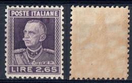 REGNO ITALIA - EFFIGIE VITTORIO EMANUELE III - VALORE DA L. 2,65 VIOLETTO - 1927 - SASSONE 217 - NUOVO MNN ** - Ongebruikt