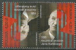 POLAND MNH ** 4359 Tête Bêche Jean Kaski (Jean Kozielewski) Résistant De La Seconde Guerre - Unused Stamps