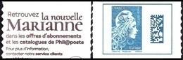 France Marianne L'Engagée Autoadhésif N° 1603,A ** Datamatrix Europe De Carnet - 2018-... Marianne L'Engagée
