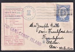 TONGA 1934 NIUAFOOU  TIN CAN CANOE ISLAND TO USA SUPERB - Tonga (1970-...)
