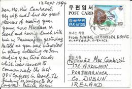 South Korea - 1994 - UPU 21st Congress - Congress Postcard Sent To Ireland With Congress Stamp And Postmark - Korea, South