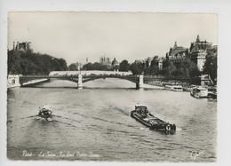 Paris, La Seine, Au Fond Notre Dame (cp N°2543 Guny) Péniche, Bateau Promenade - The River Seine And Its Banks