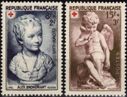 FRANCE  876 877 ** MNH Croix-Rouge Brongniart Enfant Par Houdon Et L'Amour Par Falconet 1950 - Unused Stamps