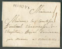 LSC De NINOVE(griffe Noire ) 1783 Vers Andenne + Manuscrit 'par Namur' ; Port '4'. TB - 17094 - 1790-1794 (Rivol. Austriaca E Invasione Francese)