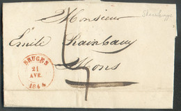 LAC De STEEBRUGGEvia (dc) BRUGES Le 21 Avril 1844 Vers Mons,port '5'. TB - 17100 - 1830-1849 (Unabhängiges Belgien)