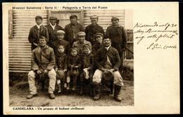 CV3662 PATAGONIA TERRA DEL FUOCO 1923 Candelara, Un Gruppo Di Nativi, Vecchia Cartolina Pubblicata Dalle Missioni Italia - Argentina