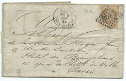 N° 28 NAPOLEON  SUR LETTRE / PARIS MONTMARTRE POUR PARIS / 1868 / LSC - 1849-1876: Klassik