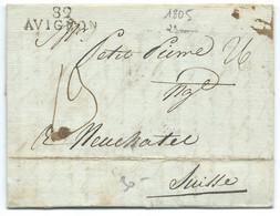 MARQUE POSTALE AVIGNON POUR NEUFCHATEL SUISSE 6 SEPT 1805 / ALCOOL ABSINTHE COGNAC EAU DE VIE - 1801-1848: Voorlopers XIX