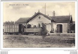CPA 18 Graçay La Gare Le Train Tramway Ligne D' Issoudun à Vierzon - Graçay