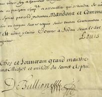 Louis XIV PS Louis 1654 SEDAN Ordres De Saint-Michel Et Du Saint-Esprit Pour Jean Du Bouchet Marquis De Sourches RRR - Avant 1871