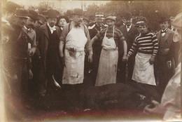 RARE PHOTO SUR LA CORRIDA D'ENGHIEN DEUIL DE 1899 OU LE TAUREAU S'ECHAPPA ESTOQUAGE DU TAUREAU EQARRISSEURS - Places