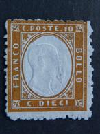"""ITALIA Regno -1862- """"Effigie In Rilievo""""  C. 10 S.G. (descrizione) - Neufs"""