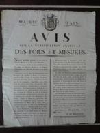 AFFICHE 1822 MAIRIE D'AIX - AVIS SUR LA VERIFICATION ANNUELLE DES POIDS ET MESURES - Posters