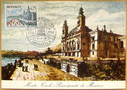 """Monaco 1966: MONTE-CARLO 1866-1966 Michel-No. 827 """"Vue Du Casino"""" (0.25) Sur CM Monte-Carlo (Principauté De Monaco) - Maximumkarten (MC)"""