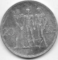 Tchécoslovaquie - 20 Korun Argent - 1934 - SUP - Tschechoslowakei