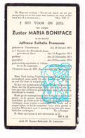 DP EZ Euthalie Franssens Zr Boniface ° Verrebroek Beveren-Waas 1851 † Klooster Godshuis St-Laureins 1936 / Klooster Gent - Devotion Images