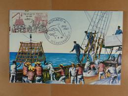 Monaco Cinquantenaire Du Musée 1910-1960 Pêche De Grande Profondeur Avec La Nasse Triédrique De S.A. Albert Ier - Maximumkarten (MC)