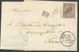 N°19 - LEOPOLD Ier 30 Centimes Brun, Obl. LP.186 Sur Lettre De HUYle 30 Août 1867 Vers Paris. TB - 17114 - 1865-1866 Profile Left